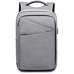 MUFUBU Presents Waterproof Elegant Anti Theft Laptop Backpack fits for up-to 15.6 Inch Laptop with USB Charging Port - Grey