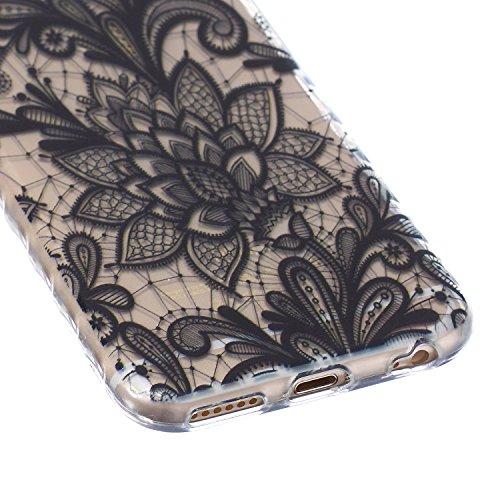 iPhone 6S Hülle,iPhone 6 Hülle,NSSTAR® iPhone 6 / 6S Silikon Hülle [Kristallklar Durchsichtig],Malerei Muster Stoßdämpfend Transparent TPU Silikon Schutz Handy Hülle Case Tasche Silikon Crystal Case D Schwarz Spitze Lace Blumen #3