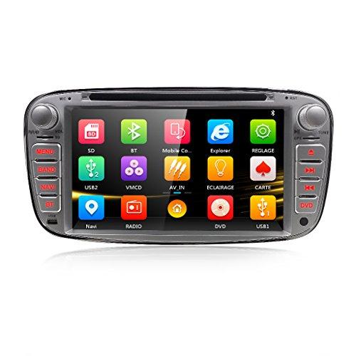 """Autoradio DVD Player mit GPS Navi für Ford Focus Mondeo Galaxy S-MAX Unterstützt DAB+ Bluetooth USB SD DVD CD Lenkradfernbedienung 7"""" Silber"""