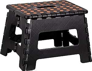 kigima tabouret banqueta plegable en plastique petit 29x22x22cm noir cuisine maison. Black Bedroom Furniture Sets. Home Design Ideas