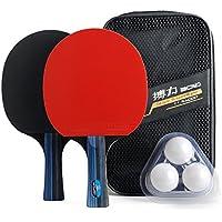 Juego de paletas y pelotas de tenis de mesa - Incluye 2 paletas de primera calidad, 3 pelotas y 1 funda de transporte