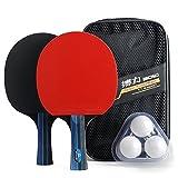 Set allenamento per ping pong/tennis da tavolo – 2racchette di alta qualità, 3palline e 1custodia per il trasporto