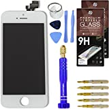 Cell Phone DIY White Replacement Screen for Apple iPhone 5 - Complete Grade AAA Digitizer and LCD Assembly, Repair Kit Inc. Premium Repair Tools + [2x] Hardened Tempered Glass Touchscreen Protectors