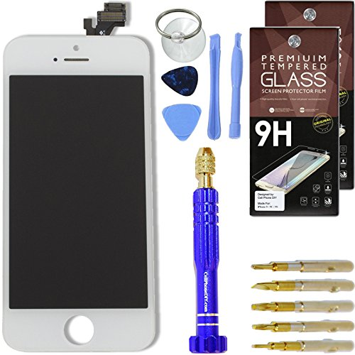 DIY iPhone 5 Screen Replacement White, LCD Touch Screen Digitizer Assembly Set + Premium Glass Screen Protectors + Free Repair Tool Kit Cracked Lcd