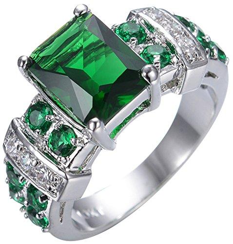 SaySure 10KT White Gold Filled Emerald Anniversary Wedding & Engagement Ring (Gold-emerald-cut-ringe Rose)