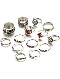 Shining Diva Fashion Set of 14 Midi Finger Rings for Women & Girls(Silver)(8613r)