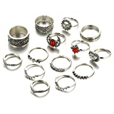 #2: Shining Diva Fashion Set of 14 Midi Finger Rings for Girls