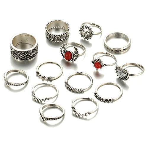 Shining Diva Fashion Set of 14 Midi Finger Rings for Women &...