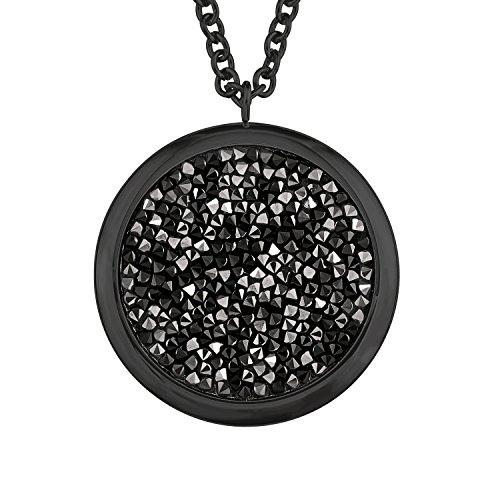 S.Oliver Damen Kette Swarovski Kristalle mit Anhänger Edelstahl IP Black 72+5 cm grau schwarz