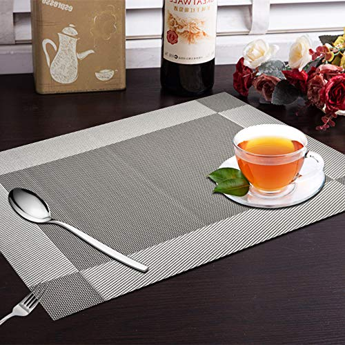 Yellow Weaves PVC Dining Table Placemats (30x45 cm, Grey) -6 Pieces