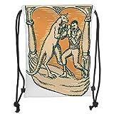 DANCENLI Drawstring Sack Backpacks Bags,Tropical Animals,Kangaroo Jumps Against Disappearance of Sun Rays Wallaby Horizontal Lines,Orange Blue Soft Satin,5 Liter Capacity,Adjustable String Closu