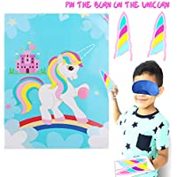 Standie 43 Pcs Pin The Horn for Unicorn Party Game- 24 Horns And 2 Pcs Blindfold And a Large Unicorn Poster (28inchx21inch)