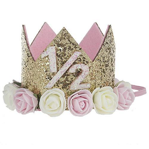 n Kinder 1. Geburtstag Hut Sparkle Gold Flower Design Geburtstag Party Hut Stirnband Krone Headwear Blume Elastisches Haarband (Color : Style 02) ()
