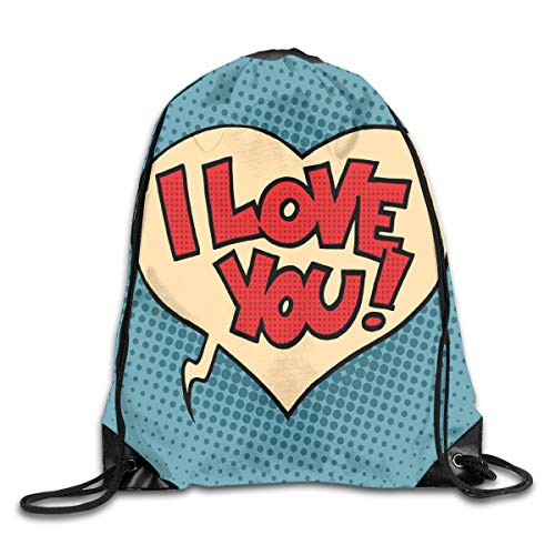 HLKPE Drawstring Backpacks Bags Daypacks,Pop Style Comic Strip Valentines Bubble Artistic Cartoon Graphic,5 Liter Capacity Adjustable for Sport Gym Traveling