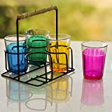 #10: Homesake Cutting Chai Glass With Stand, Multicolor Glasses (4 Glasses)