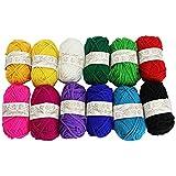 Mking hilo 12madejas de varios colores tejer hilo de algodón ideal para cualquier proyecto de punto y ganchillo bebé ropa calcetines guantes Headwear juguetes y otras artes y manualidades.