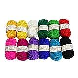 Kbnian filati di 12 matasse di colori assortiti da maglia in cotone filato perfetto per ogni uncinetto e progetto vestiti del bambino calzini guanti Headwear giocattoli e altre attività artistiche.