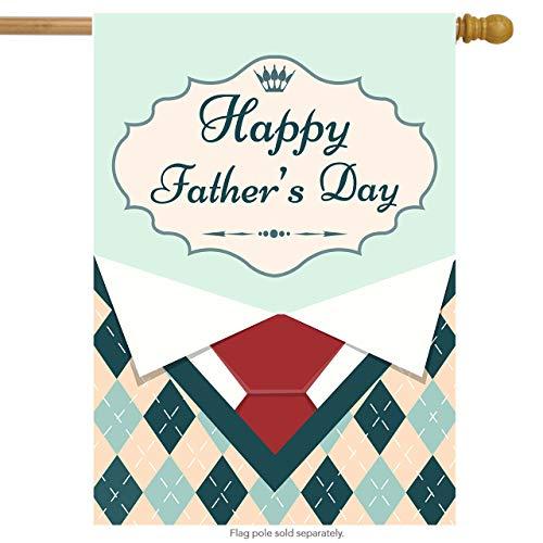 Grüne Gesponnene Krawatte (ALAZA Happy Father 's Day Polyester House Flagge Banner 71,1x 101,6cm Twin Seiten, Menswear mit Rot Krawatte Shirt Garten-Flaggen für Jahrestag Hof im Dekoration)