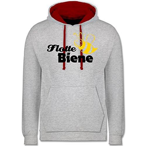 Laufsport - Flotte Biene - Kontrast Hoodie Grau Meliert/Rot