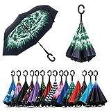 Jooayou Paraguas Invertido de Doble Capa,Paraguas Plegable de Manos Libres Autoportante,Paraguas a Prueba de Viento Anti-UV Para la Lluvia del Coche al Aire Iibre (Dandelion)