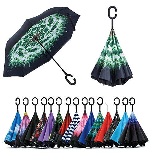 Jooayou Parapluie Inversé, Anti-UV Double Couche Coupe-Vent Parapluie, Mains Libres poignée en forme C Parapluie (Dandelion)