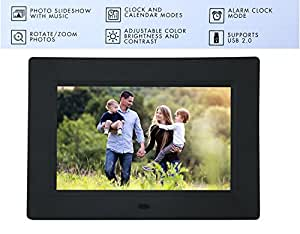 """XECH® 7"""" Digital Photo Frame with Functional Remote Plays Photos slideshow, Video, Audio (7"""" inch, Black)"""