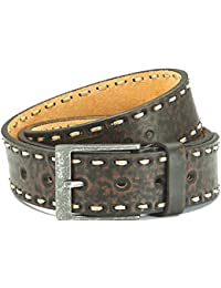 Leather belt with PU, brown with beautiful embossing, used look, unisex
