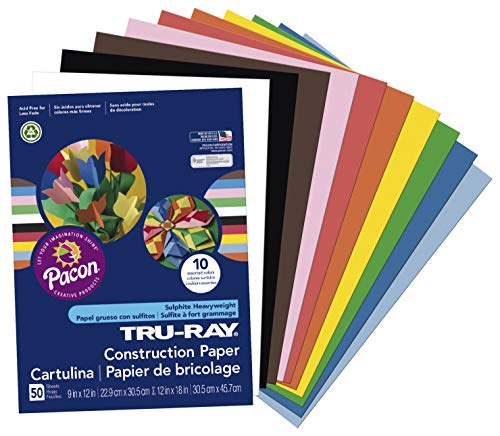 Tru-Ray Construction Paper, 76 lbs., 18 x 24, Assorted, 50 Sheets/Pack (18 24 X Drafting-papier)