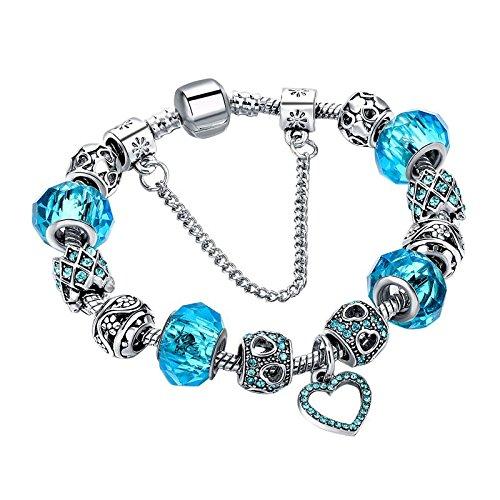 Fabulous Bijoux Braccialetto Stile Pandora Placcato in Platino con Le Perline in Argento Tibetano intarsiate di Cristalli e in Vetro Azzurro, Ciondolo a Forma di Cuore