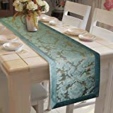 #8: Lushomes Blue Jacquard Polyester Runner With Polyester Border