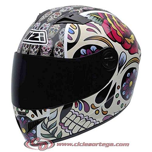 NZI 150196G582M Must II Graphics Casco de Moto, Mexican Skulls, Talla M