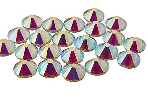 EIMASS 7767, DMC-Hotfix-Strasssteine, flache Steine mit klebender Rückseite zum Heißkleben, 1440Stück, Crystal AB Vector, 7.5 mm -