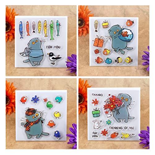 Kwan Crafts 4 Bögen verschiedene Stile Katze Fisch Dankes-Stempel für Kartenherstellung Dekoration und DIY Scrapbooking