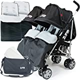 Zeta Twin Stroller - Black Complete With x2 Deluxe footmuff + Changing Bag + Raincover