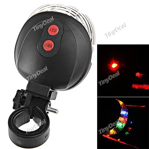 Cycling Bike Bicycle 2 Laser Beam and 5 LED Rear Tail Light Safety Rear Warning Lamp FLD-167735