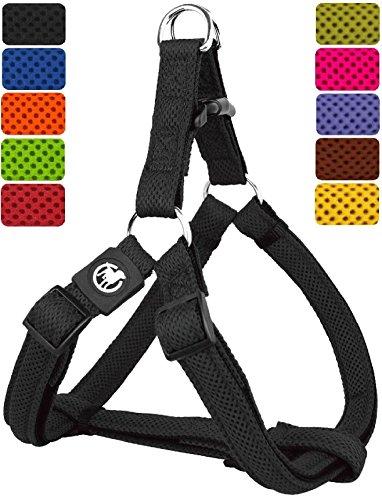 DDOXX Hundegeschirr Step-In Air Mesh | für große, mittelgroße, mittlere & Kleine Hunde | Geschirr Hund | Katze | Brustgeschirr | Softgeschirr | Schwarz, XS - 1,5 x 32-44 cm
