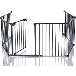 Lcp Kids Barrière De Sécurité Enfant Grille Protection Cheminée Feux Parc Bebe Pliable; 5 Panel +1 Porte