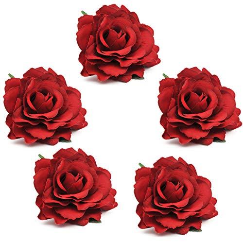 Kostüm Damen Flamenco - Coucoland Rose Blumen Brosche Haarclips Braut Hochzeit Haarschmuck Flamenco Tanz Haarspange Damen Fasching Kostüm Accessoires (5 Stück - Rose)