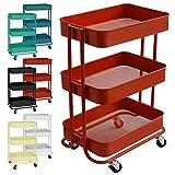 casa pura Design Allzweckwagen mit 3 Etagen - Rollwagen bis 24 kg belastbar - Servierwagen mit 2 Bremsen - Beistellwagen für Küche, Bad, Büro - Korbwagen auf Rollen in 6 Farben (Rot)