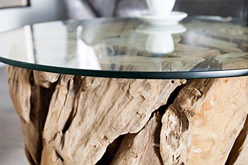... DuNord Design Couchtisch Treibholz Glastisch Glas Holz Tisch 60cm Rund  TEAK LOUNGE Massivholz ...
