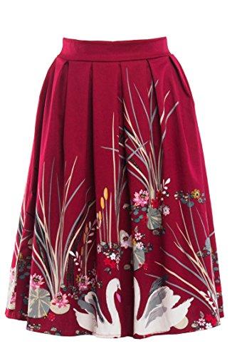 Omela Rockn Roll Rock Kostüm Damen 50er Jahre Rock Rockabilly Tellerrock Hohe Taille Faltenrock Blumenrock Farbe12