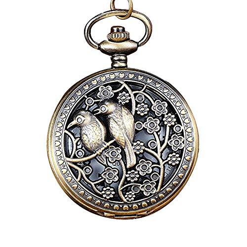 Homeofying Vögel/Turm/Eule/Blume Vintage Bronze Anhänger Halskette Kette Quarz Taschenuhr Taschenuhr 1#