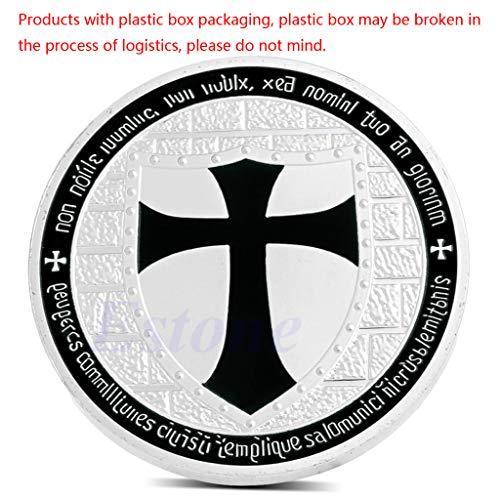 Silber überzogene Freimaurer-Ritter Templer Black Cross Souvenir Gedenkmünze - Lagerung Silber-münze