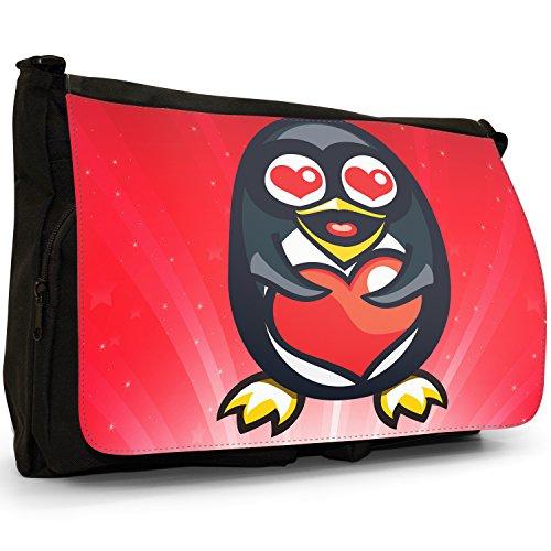 STAR STRUCK Love Animali Grande borsa a tracolla Messenger Tela Nera, scuola/Borsa Per Laptop Penguin Holding Red Love Heart
