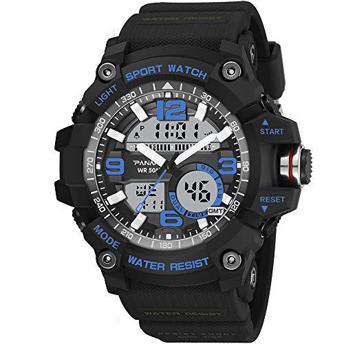 YOLANDE Digitale Armbanduhr, Outdoor Laufen Wasserdichte Uhren, Cool Sport große Anzeige LED...