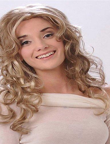 Mode Perücken WIGSTYLE blonde Farbe europäischen und amerikanischen Frauen Mode Hüte langen lockigen Haar (Langen Lockigen Perücken)