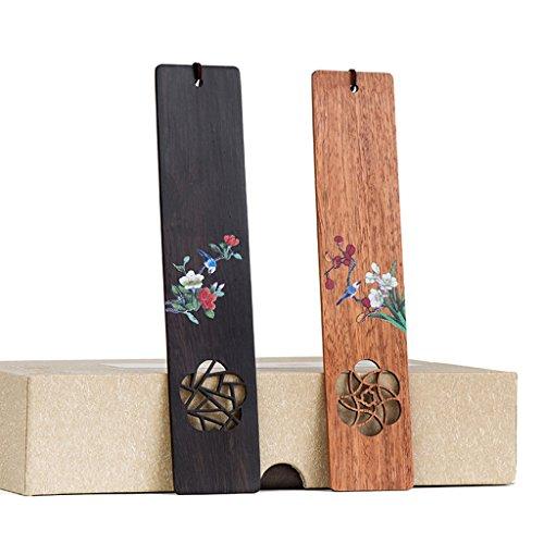 CJH Chinesische Art Klassische Mahagoni Retro Kreatives Geschenk Ebenholz Holz Lesezeichen Set Geschenk