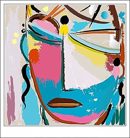 Haehne Modern Visage coloré 2 Toiles en coton Impression Oeuvres Peintures à l'huile Photo Imprimé sur toile Art mural pour les décorations maison à la chamber, 40 *40cm(16* 16Inch)), Avec cadre