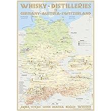 Whisky Distilleries Germany-Austria-Switzerland - Tasting Map 24x34cm: Laminierte Landkarte der Whisky-Destillerien in Deutschland, Österreich und Schweiz (incl. Liechtenstein)