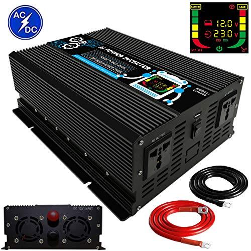 Wechselrichter 2000W 4000W-Spannungswandler DC 12V auf AC 230V-Power Inverter mit USB und LCD Display-Wandler